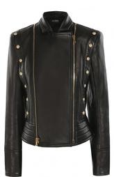 Приталенная кожаная куртка с декоративной отделкой и косой молнией Balmain