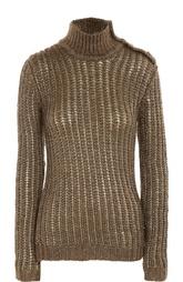 Пуловер фактурной вязки с металлизированной отделкой и высоким воротником Balmain