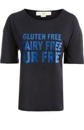 Хлопковая футболка с контрастной надписью и спущенным рукавом Stella McCartney