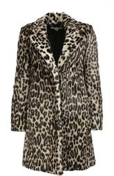 Пальто прямого кроя из эко-меха с леопардовым принтом и отложным воротником Stella McCartney