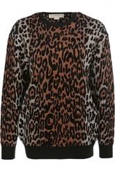 Пуловер с круглым вырезом и леопардовым принтом Stella McCartney