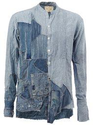 джинсовая рубашка в стиле пэчворк  Greg Lauren