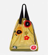 сетчатая сумка-шоппер с цветочной аппликацией Christopher Kane