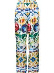 брюки с принтом Majolica Dolce & Gabbana