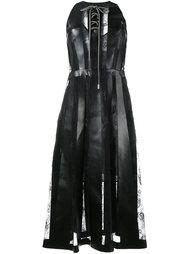 кожаное платье с кружевными вставками Christopher Kane
