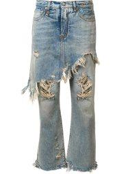 рваные джинсы с декоративным фартуком R13