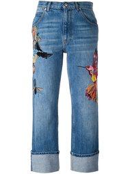 джинсы бойфренды с вышивкой Alexander McQueen