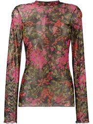прозрачная футболка с цветочным узором Ssheena