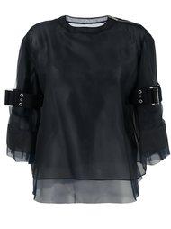 полупрозрачная блузка с ремешками на рукавах Sacai