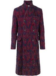 двубортное пальто с абстрактным рисунком Uma Wang