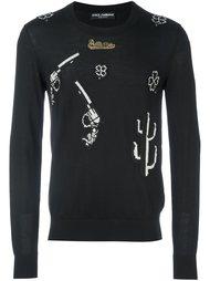 свитер с нашивками в стиле вестерн Dolce & Gabbana