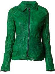 кожаная куртка с эффектом помятости Giorgio Brato