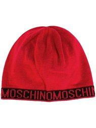 шапка-бини вязки интарсия с логотипом Moschino