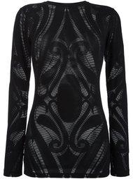 прозрачная блузка с барочным узором Balmain