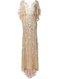 вечернее платье с цветочной вышивкой  Marchesa