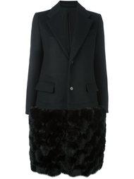 пальто с меховым подолом Comme Des Garçons Noir Kei Ninomiya