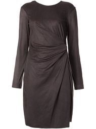 metallic asymmetric draped dress Josie Natori
