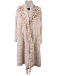 однобортное пальто с бахромой Polo Ralph Lauren