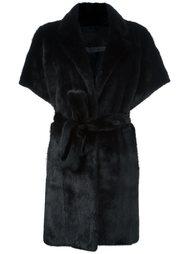 меховое пальто с поясом Simonetta Ravizza