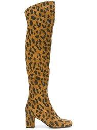 сапоги с леопардовым принтом   Saint Laurent