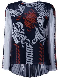 блузка с принтом каллиграфии Sacai