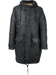 hooded leather coat Pihakapi