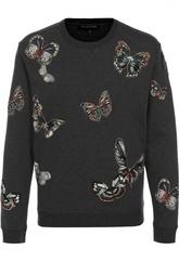 Хлопковый свитшот с нашивками в виде бабочек Valentino