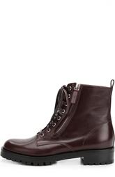 Кожаные ботинки на шнуровке с молнией Gianvito Rossi