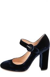 Синие Бархатные туфли Lorraine на устойчивом каблуке Gianvito Rossi