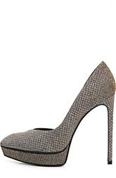 Текстильные туфли Janis на шпильке Saint Laurent