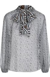 Полупрозрачная шелковая блуза с воротником аскот Diane Von Furstenberg