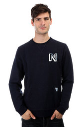 Толстовка свитшот Nixon Baja Malibu Crew Black Denim Heather