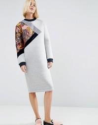 Трикотажное платье миди с цветочной вставкой ASOS WHITE - Мульти