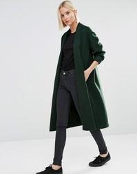 Трикотажное пальто-кокон Weekday - Зеленый