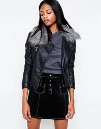 Асимметричная полиуретановая куртка с воротником из искусственного меха Barneys Originals - Черный