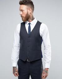 Harry Brown Slim Fit Waistcoat in Navy Check - Темно-синий