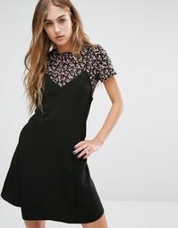 Платье на бретельках 2 в 1 с цветочным принтом Miss Selfridge - Мульти