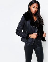 Куртка из полиуретана с искусственным меховым воротником Barneys Originals - Черный