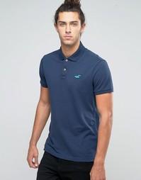 Синее стретчевое поло узкого кроя из ткани пике с логотипом Hollister - Темно-синий