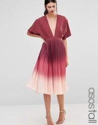 Платье-туника миди с плиссировкой и эффектом омбре ASOS TALL - Мульти