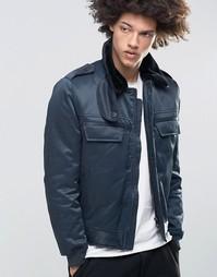 Темно-синяя теплая куртка-пилот с воротником из искусственного меха Cheap Monday - Темно-синий