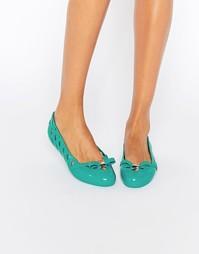 Туфли на плоской подошве с бантом Melissa Praia - Зеленый