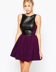 Короткое приталенное платье со вставкой из искусственной кожи Hedonia Amy - Фиолетовый