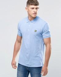 Голубая футболка‑поло с тканым воротником Lyle & Scott - Синий