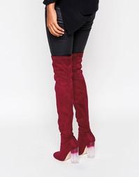 Ботфорты на прозрачном каблуке Truffle Collection - Красный