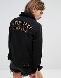 Джинсовая oversize‑куртка бойфренда с надписью сзади Lira - Черный