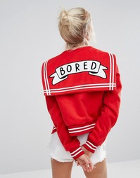 Университетская куртка с надписью Bored Lazy Oaf - Красный