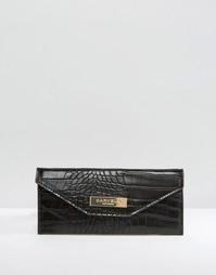 Кошелек под крокодиловую кожу с откидным клапаном Carvela - Черный