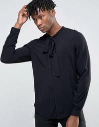 Черная вискозная рубашка классического кроя с бантом ASOS - Черный