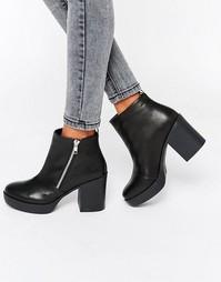 Ботинки челси на массивном каблуке с молнией London Rebel - Черный